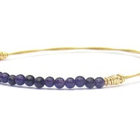 Beaded Bangle Bracelet // Thin Gold Bangle Bracelet, Purple Gemstone Beads / Handmade Eco-Friendly Jewelry // Recycled Guitar Strings //Gift