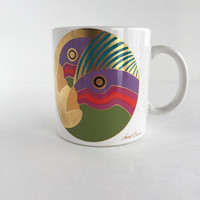 Vintage Laurel Burch Caribbean Cockatoos Coffee Cup