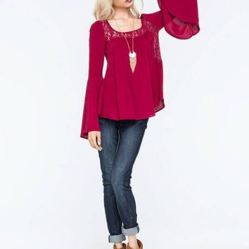 Trumpet Sleeve Loose Lace Patchwork Shirt