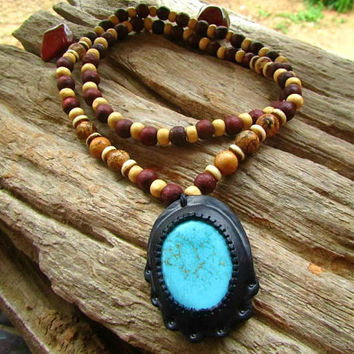 108  Beaded Mala Necklace with Jasper Stones & Howlite Leather Pendent / Ethnic Necklace / Beaded Long Necklace / Mens Beaded Necklace