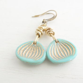 Shell Earrings Turquoise Gold Dangles Glass Sea Shells Scallops Summer Beach Style Small Gold Shell Dangles Wire Wrapped Wild Garden Designs