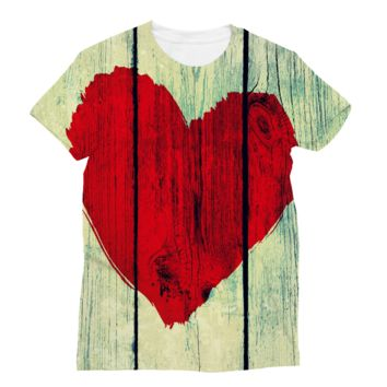 Red Painted Heart on Wood Planks Subli Sublimation T-Shirt