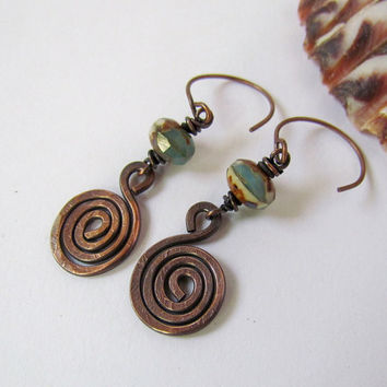 Oxidized Copper Spirals Picasso Czech Glass by SandstarJewelry