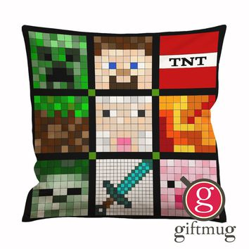 Minecraft Quilt Face Cushion Case / Pillow Case