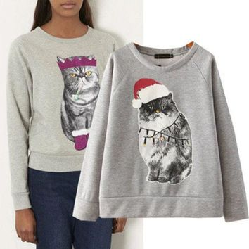 VLX2WL Long Sleeve Round-neck Hoodies Winter Christmas Tops T-shirts [9584886794]