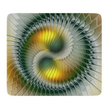 Yin Yang Green Yellow Abstract Colorful Fractal Cutting Board