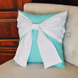 Throw Pillow White Bow on Bright Aqua Pillow 14x14 by bedbuggs