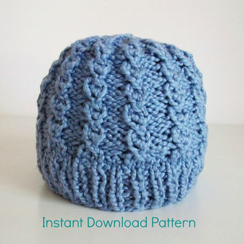 Rustic Twist Easy Knit Hat Pattern Mock Cable Knit Hat