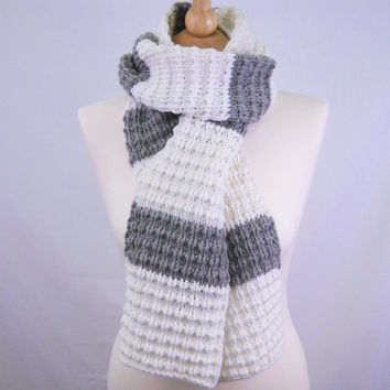 Grey and white stripe wool scarf - long scarf - chunky scarf - striped scarf - warm scarf - winter scarf - bulky scarf - long winter scarf