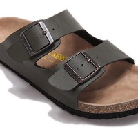 Birkenstock Arizona Sandals Leather-olive Green - Ready Stock