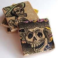 Day Of The Dead Stone Coasters on Luulla