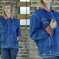 Vintage 80's YSL Yves Saint Laurent Four Pocket Flannel Lined Denim Jean Jacket