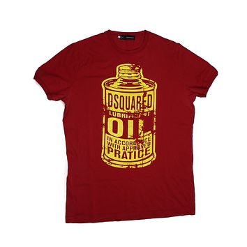 Dsquared Graphic T Shirt Red Yellow Oil Can Print | Pre-owned Used