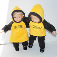 """bitty baby clothes matching, doll 15"""" twin, yellow gold & black Pittsburgh football fan hoodies, pants, leg warmers, adorabledolldesigns"""
