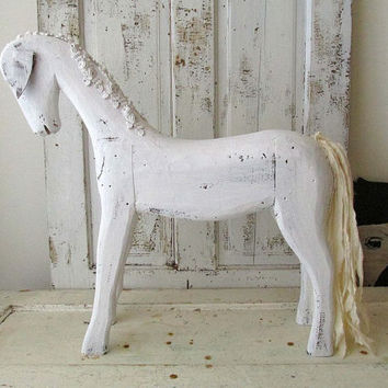 French Nordic white horse statue large shabby cottage chic carved wood primitive folk art figure wood embellished decor anita spero design