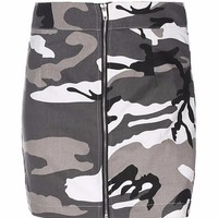 Camo High Waist Zip Mini Skirt
