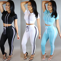 Summer two pieces solid women casual style  top short full length hooded sportswear suit sets