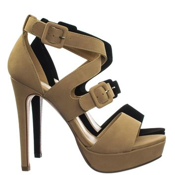 Blinky High Heel Platform Open Toe Cage Dress Sandal w Double Buckles