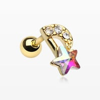 Golden Celestial Star Melody Cartilage Tragus Earring