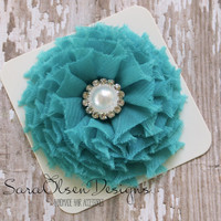 Rosette Hair Clip, Turquoise, Swirl Chiffon Flower, Flower Hairbow, Frayed Chiffon Hairclip, Children's Hair Accessories, Girls Hairbow