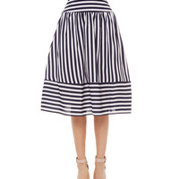Striped High Waist Chiffon Mid Skirt