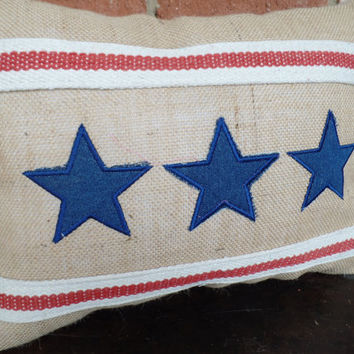 "Patriotic Burlap  pillow  Star and Stripe 14"" x 18"" 4th of July, Memorial Day, rustic pillow, decorative pillow"