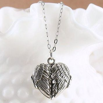 Angel Wings Heart Locket - I Have Fallen in Love Many Times - Sterling Silver