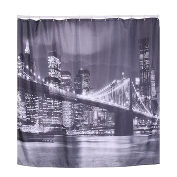 3D Shower Curtains City Plaid Boat Printed Waterproof Polyester Bathroom Shower Curtains Home Decoration Bath Curtains