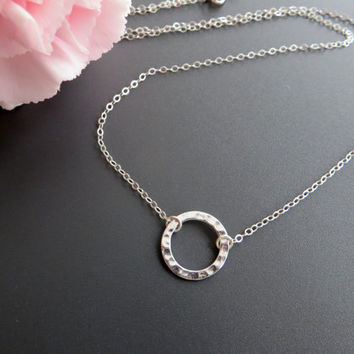 Eternity Circle Necklace. Sterling Silver Circle Pendant Necklace..925 Sterling Silver.
