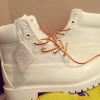 White Custom Timberlands (GS)