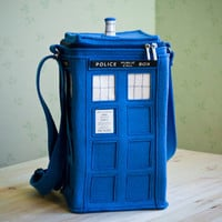 Blue Felt TARDIS Bag (TARDIS purse)