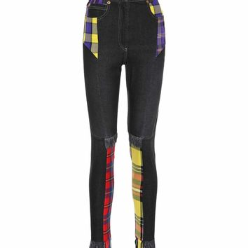 Plaid patchwork skinny jeans