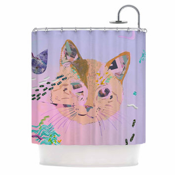 "Vasare Nar ""Psychedelic Cat"" Pastel Lavender Shower Curtain"