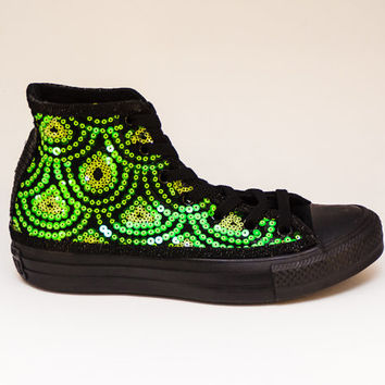 Sequin Kelly Feather Pattern Green on Black Sequin Canvas Hi Top Sneakers Shoes