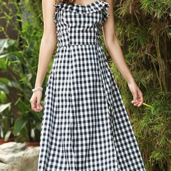 Sexy Strappy Ruffle Gingham Midi Dress