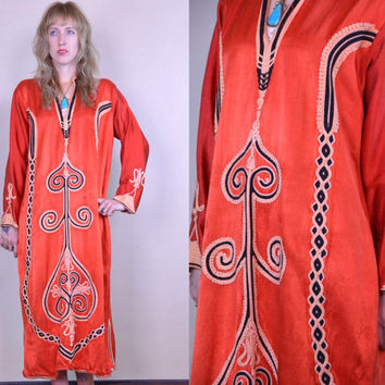 Vintage 70's Red Satin Bohemian Hippie Embroidered Dashiki Robe Dress