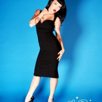Masuimi Dress in Black Bengaline from Pinup Couture | Pinup Girl Clothing
