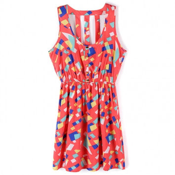 New Fashion Women's Casual Dress Geometric Print Colorful Party Dress