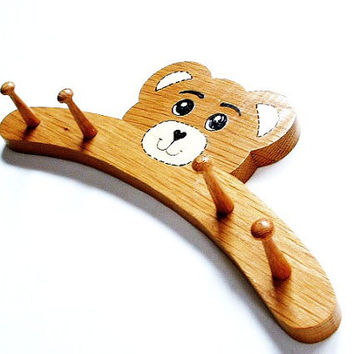 Vintage Wall Hook Wood Teddy Bear Childrens Coat Hat Rack Kids Room