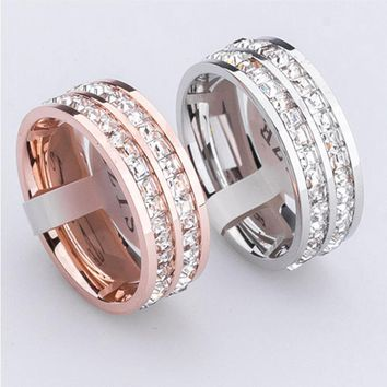 High quality jewelry super flash titanium steel crystal  ring girl small square little finger ring