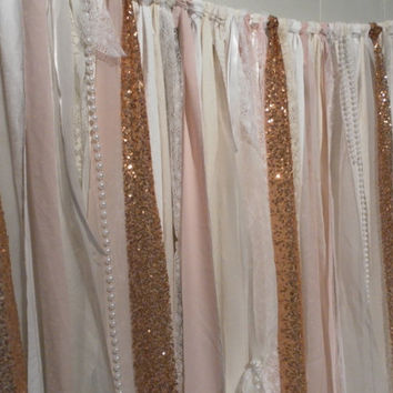 Gold Sequin Garland Backdrop Photo Session White Ivory Pink Blush Sparkle Glitter