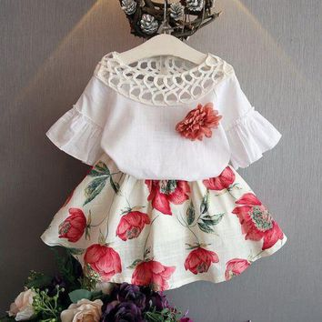 Toddler Kids Baby Girls Short Sleeve Shirt + Floral Skirt Dress Outfits Clothes Cotton Casual Shorts Summer Children Sets 2-7Y
