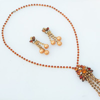 Vintage Topaz Rhinestone and Pearl Necklace and Earring Set- Julianna Style, Orange, Topaz, Brown