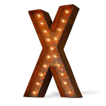 "24"" Letter X Lighted Vintage Marquee Letters (Modern Font/Rustic)"