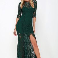 Only One Dark Green Lace Maxi Dress