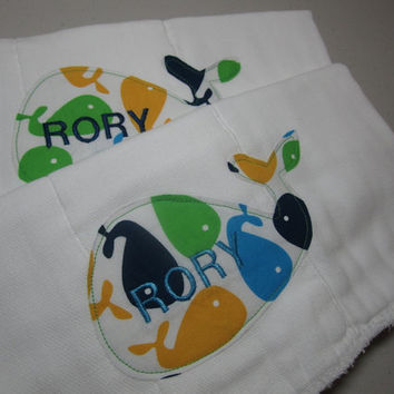 Personalized Whale Applique Burp Cloth Diapers - Embroidered - Machine Embroidery - Ann Kelle Bright Whales Fabric