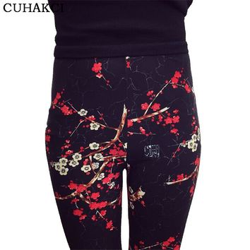 Print Flower Leggings Leggins Plus Size Legins