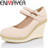 ENMAYER Wedges Buckle Strap Gladiator pumps Round Toe PU shoes for girls  Closed Toe slip-on sweet purple pink beige Basic pumps