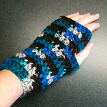 Crochet Wrist Warmers Crochet Gloves Crochet Fingerless Gloves Blue Gloves Stocking Stuffer Women's Gloves Thick Gloves Chunky Gloves Boho