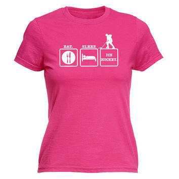 123t USA Women's Eat Sleep Ice Hockey Funny T-Shirt